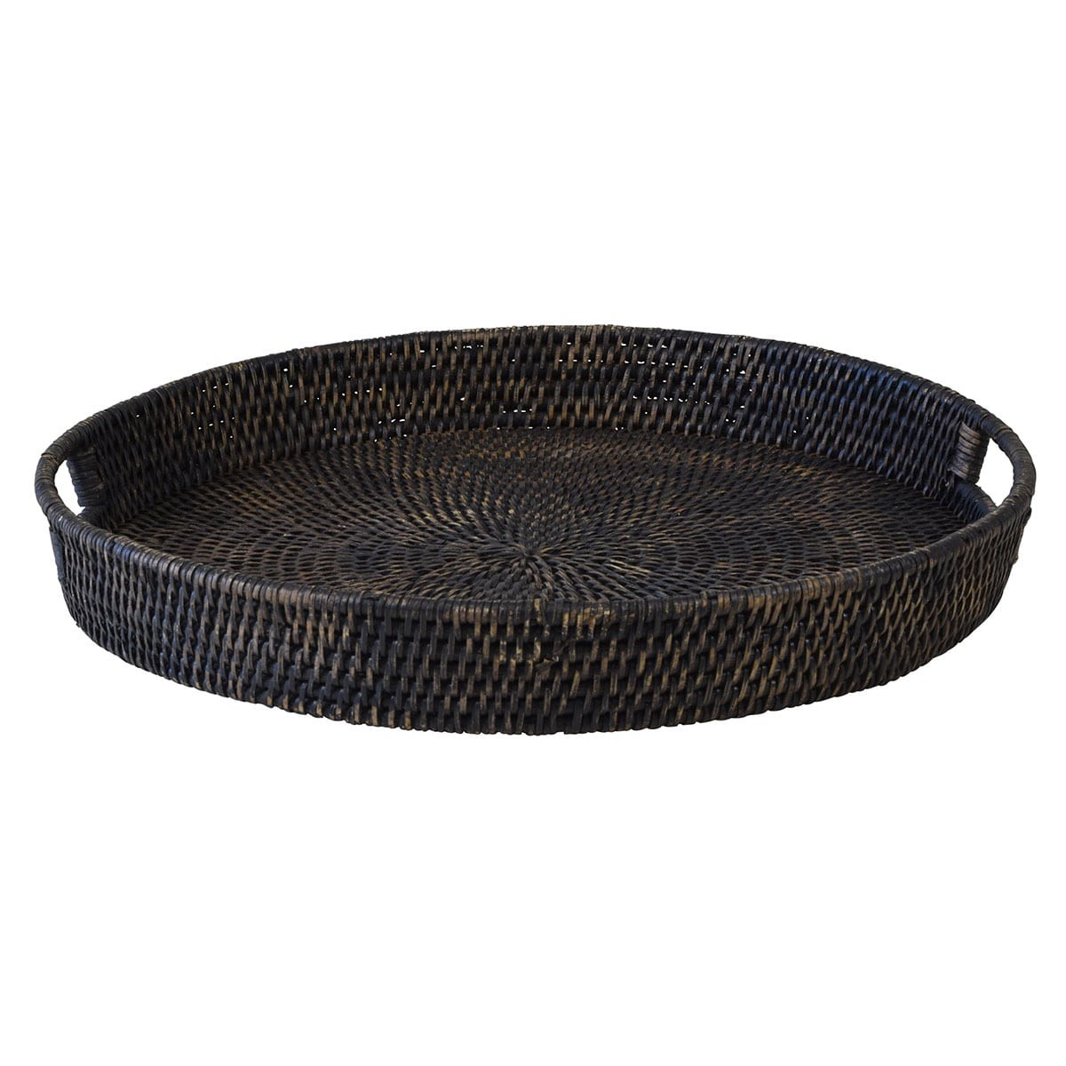 Savannah Rattan Tray, Round, Small, Charcoal