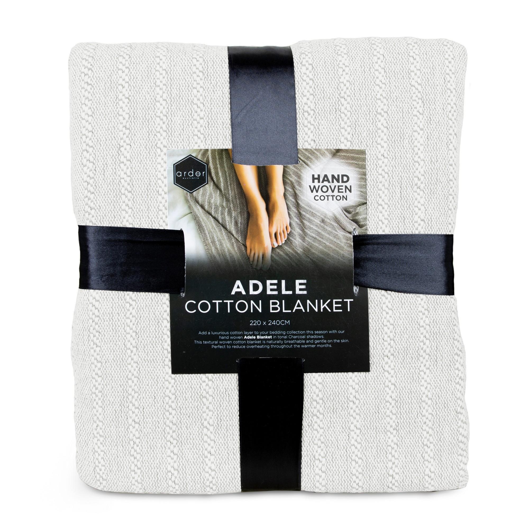 Ardor Adele Hand Woven Cotton Blanket, 220x240cm, Coconut Milk