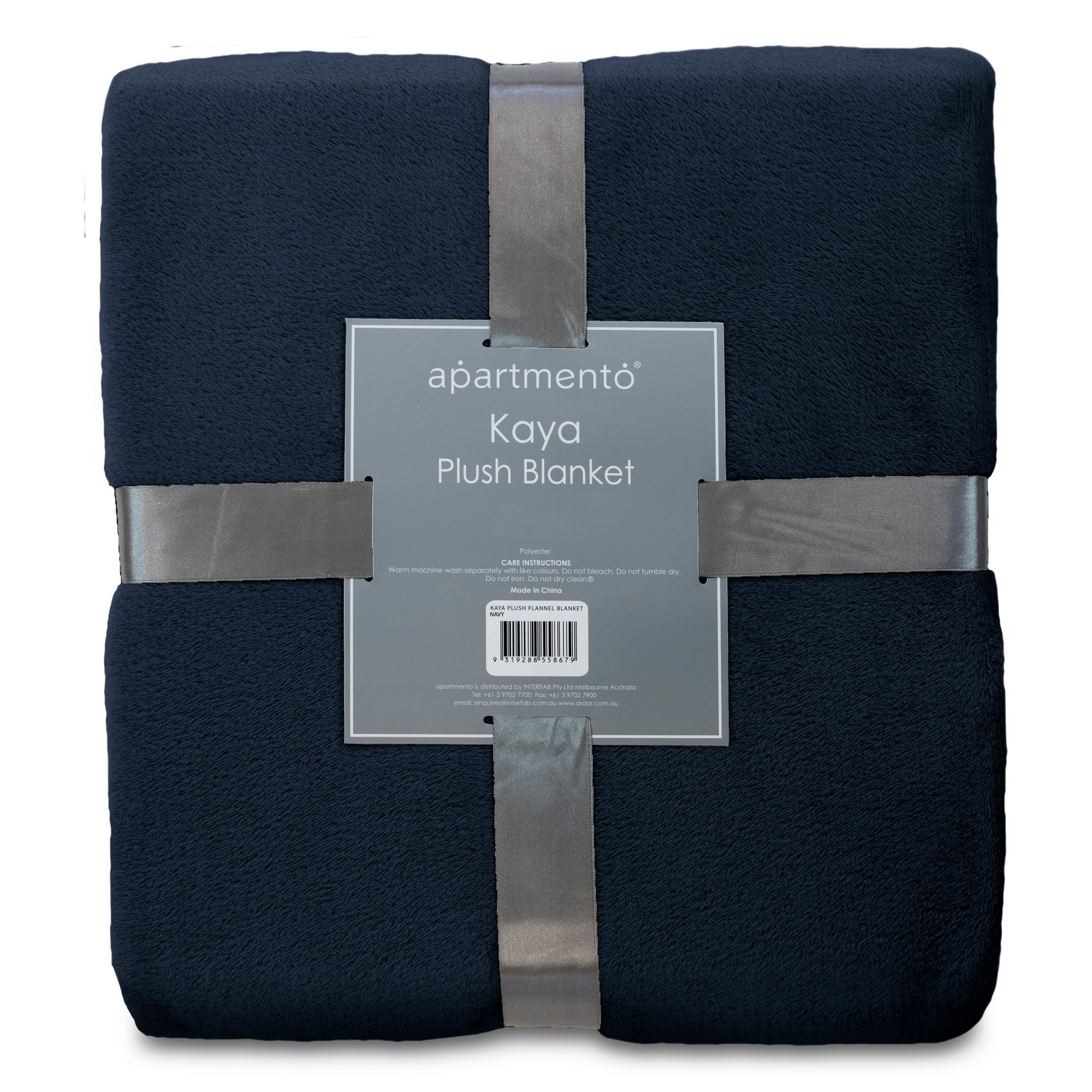 Apartmento Kaya Flannel Plush Blanket, 160x228cm, Navy