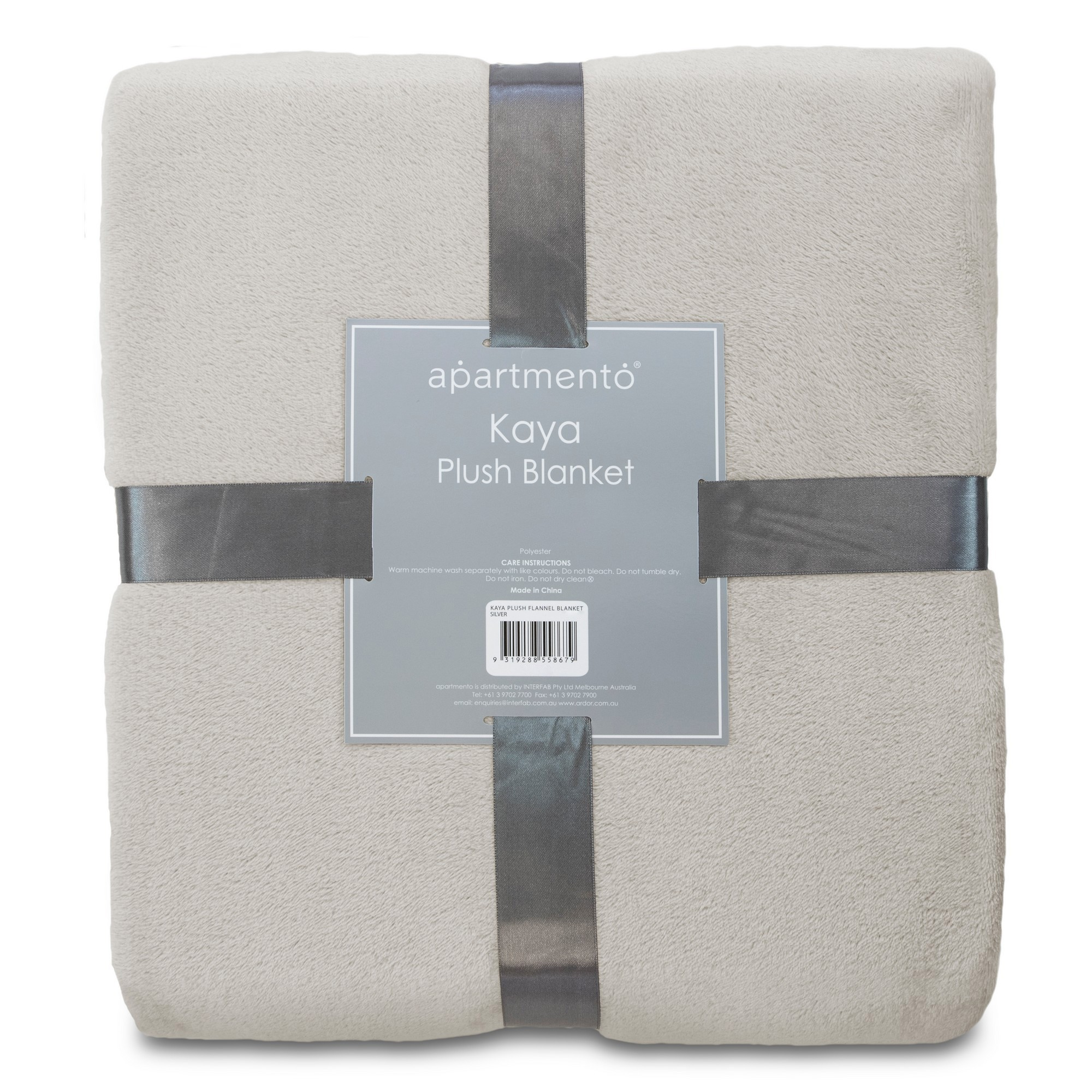 Apartmento Kaya Flannel Plush Blanket, 160x228cm, Silver