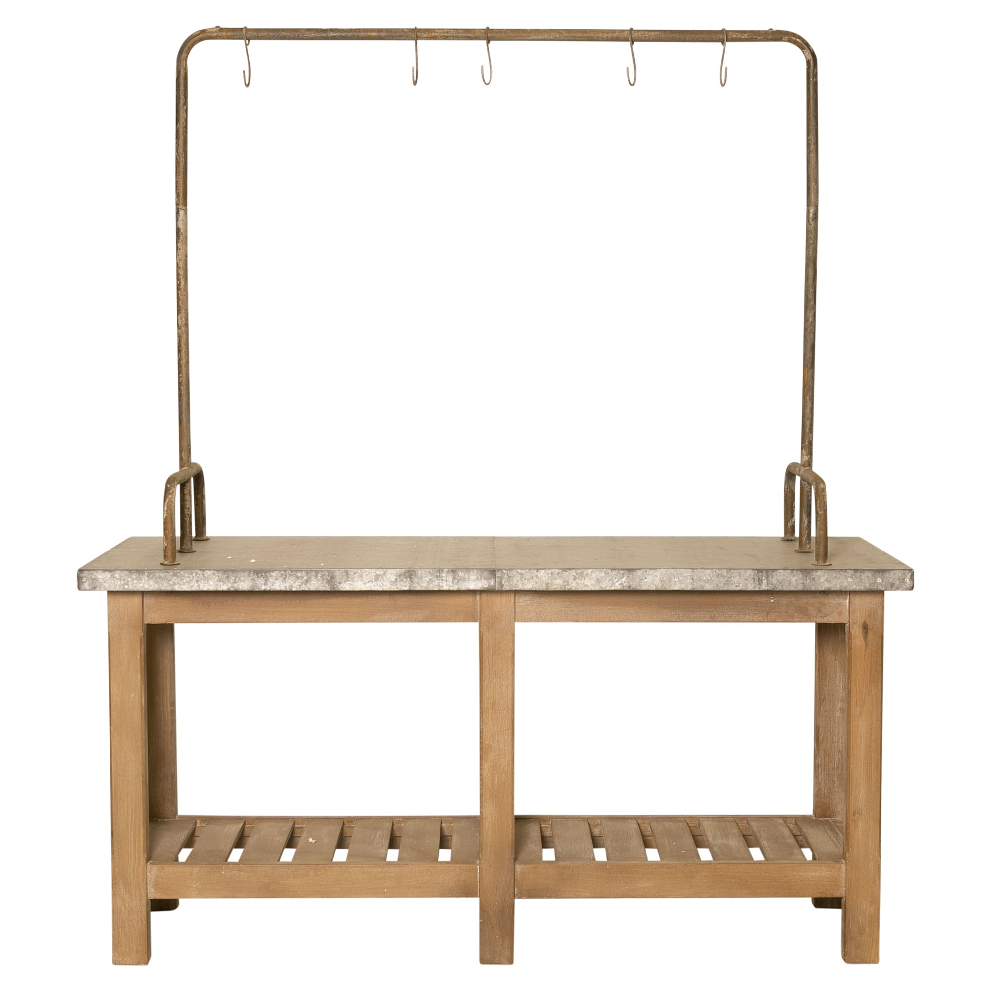 Anais Wood Butcher Table with Hanging Rack