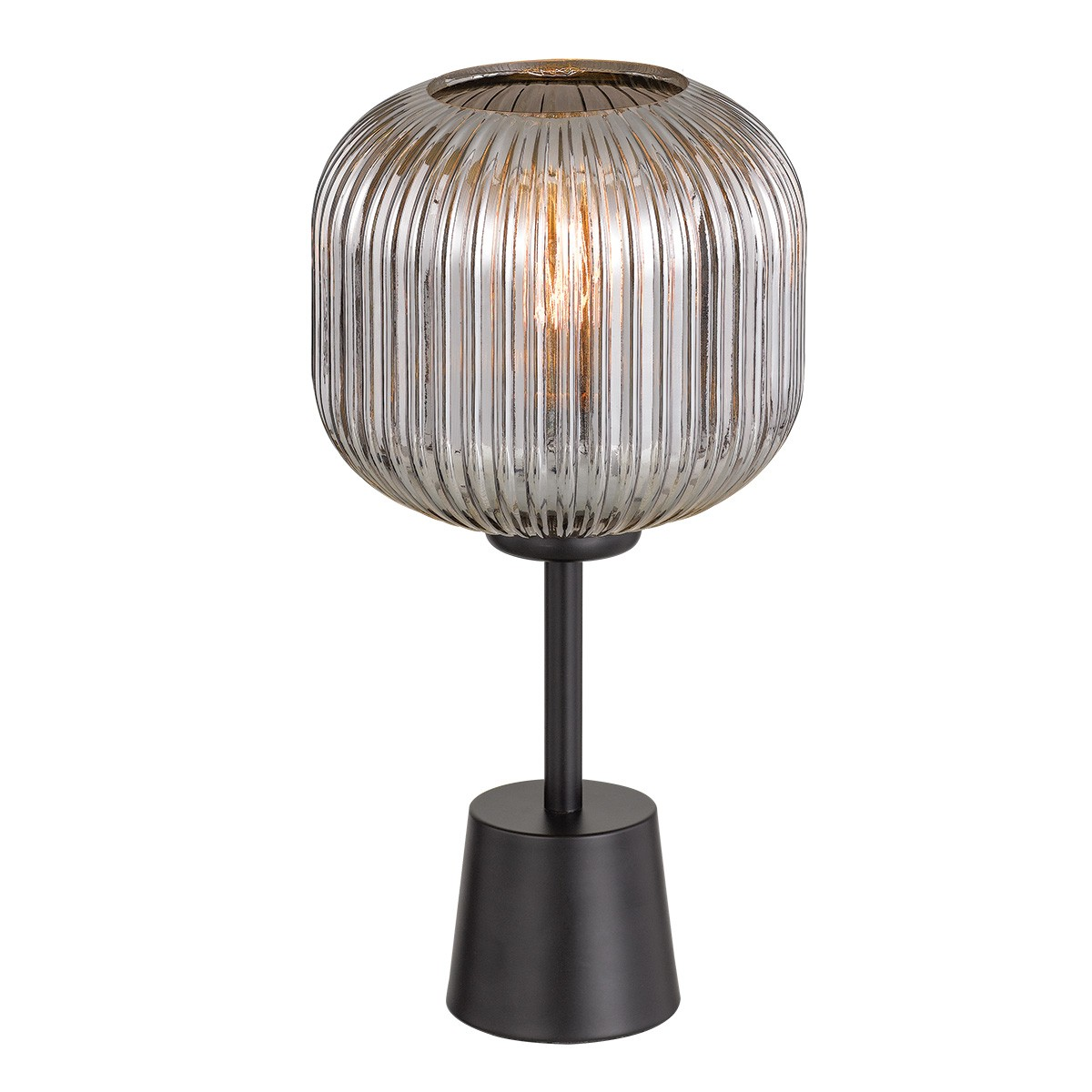 Bobo Metal & Glass Table Lamp, Black / Smoke
