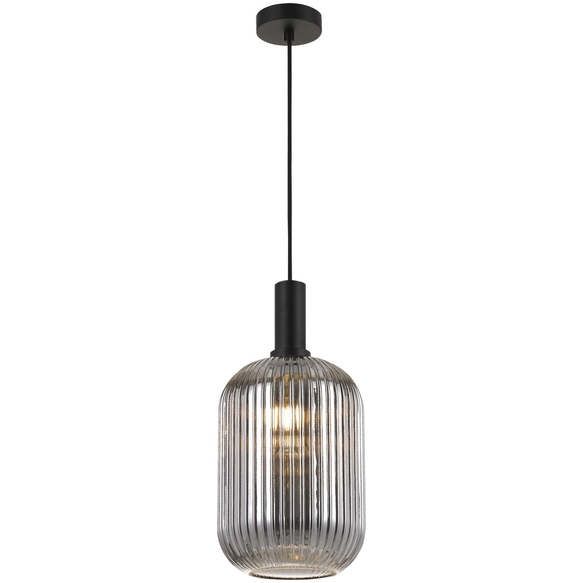 Bonura Ribbed Glass Pendant Light, Large, Smoke