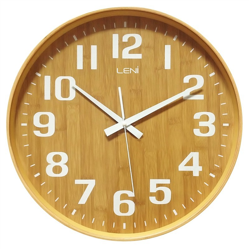 Leni Large Wooden Round Wall Clock - Natural