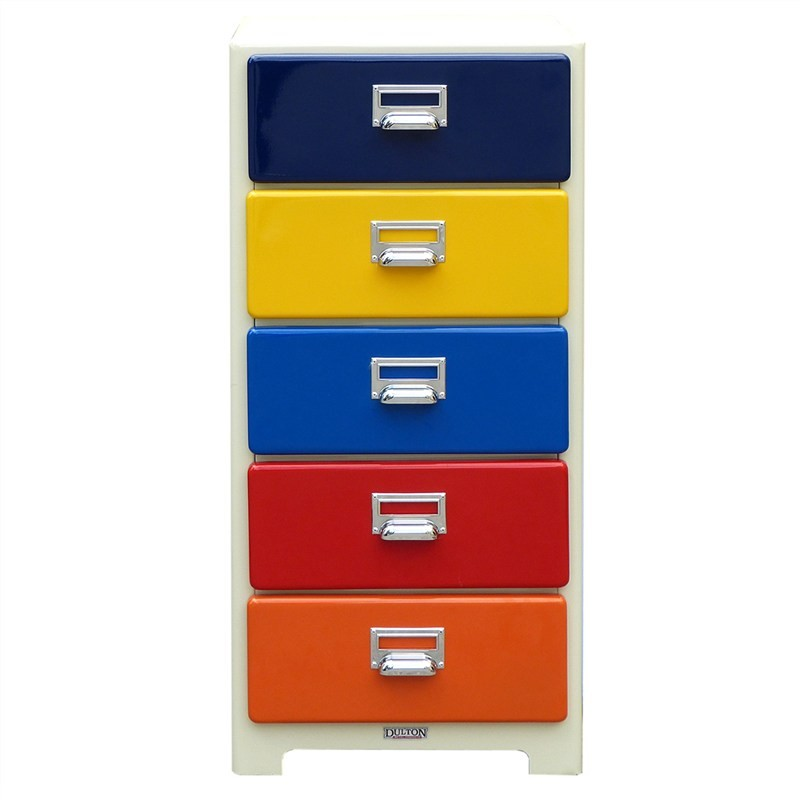 Dulton Soho Metal 5 Drawer Small Slim Chest - Rainbow