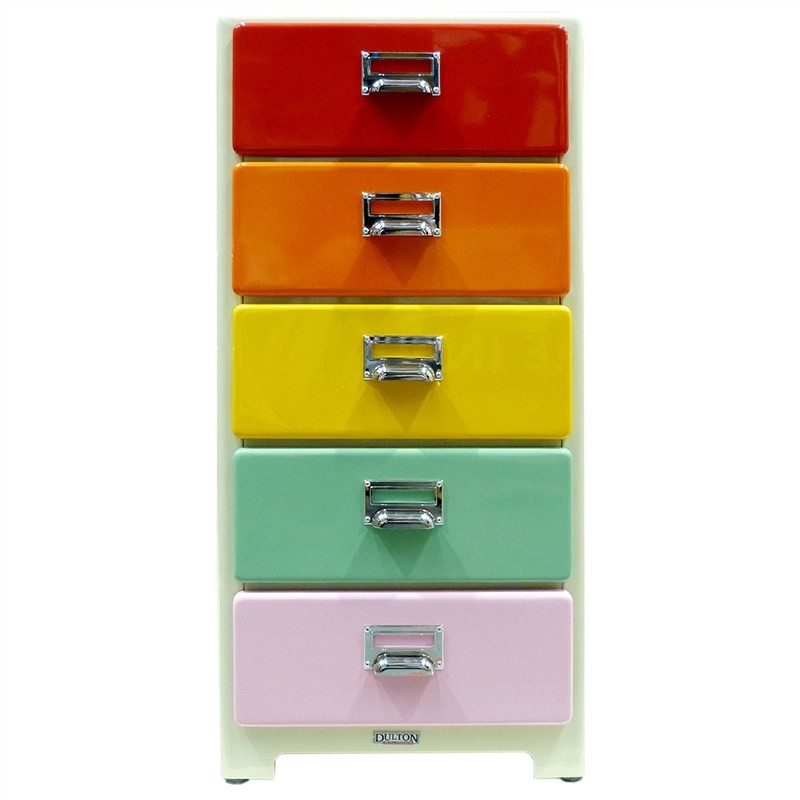 Dulton Soho Metal 5 Drawer Small Slim Chest - Retro