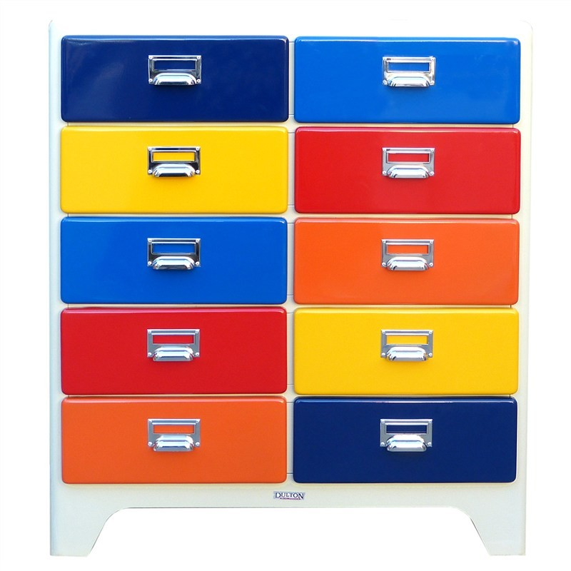 Dulton Soho Metal 10 Drawer Chest - Rainbow