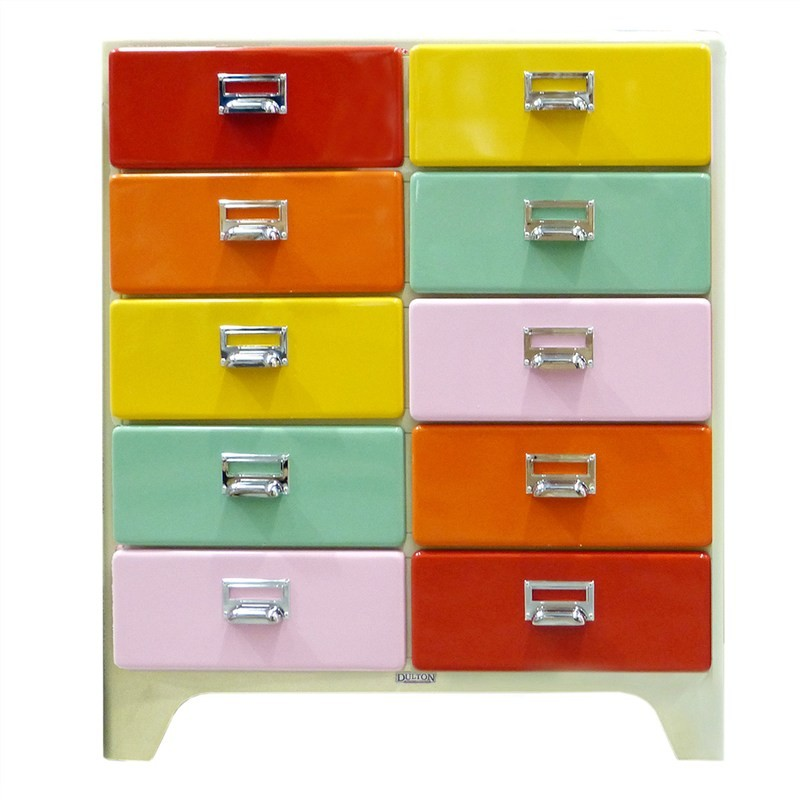 Dulton Soho Metal 10 Drawer Chest - Retro