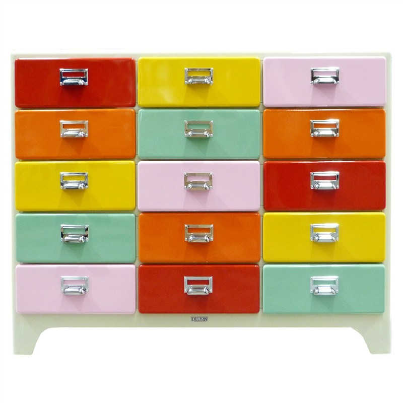 Dulton Soho Metal 15 Drawer Chest - Retro