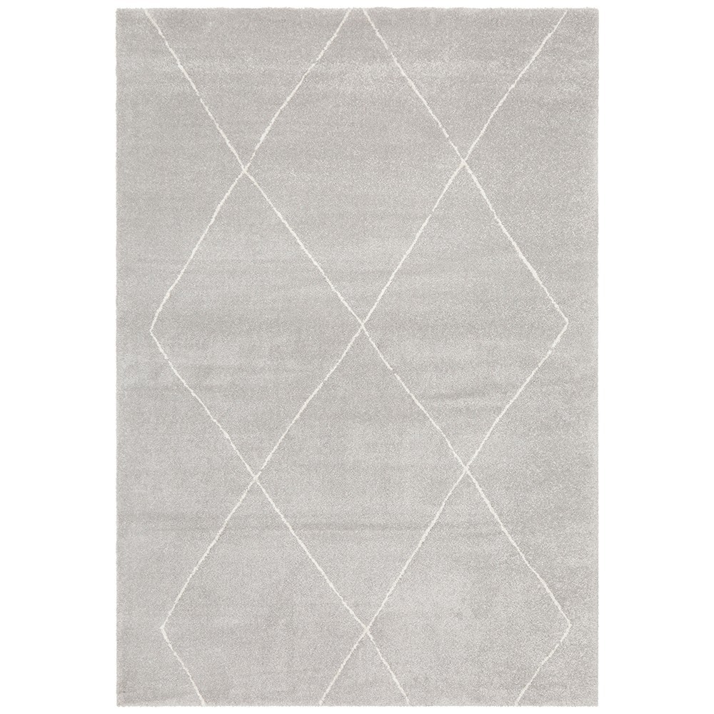 Broadway Diamond Modern Rug, 200x290cm, Silver