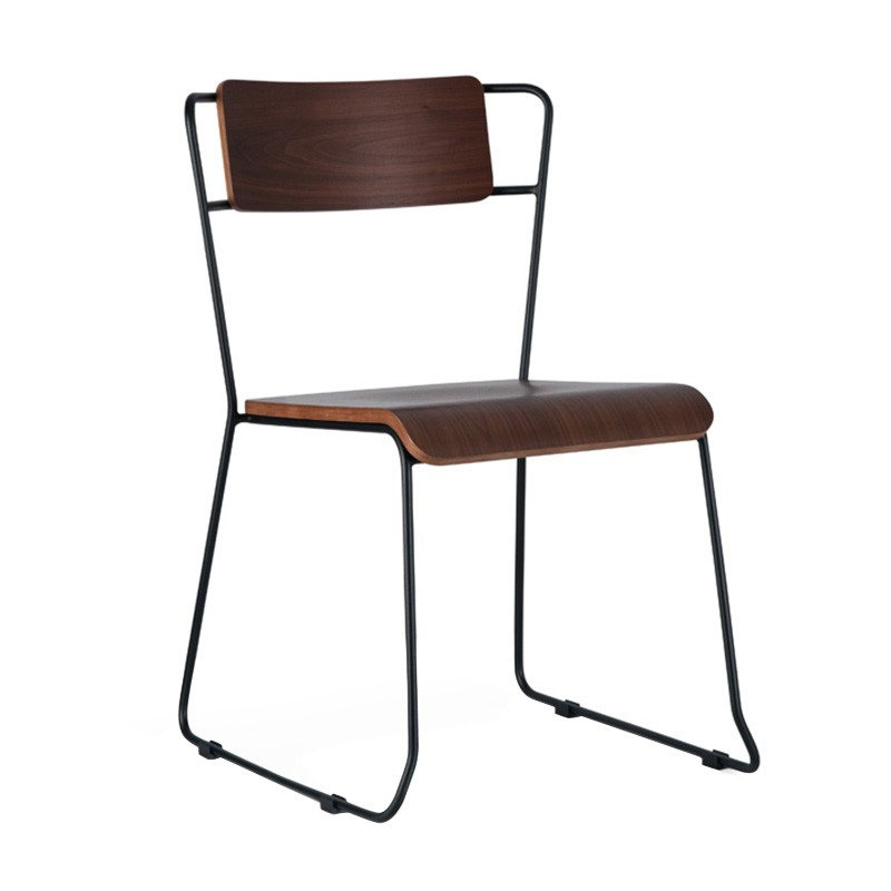 Bronx Commercial Grade Steel Dining Chair, Walnut / Black