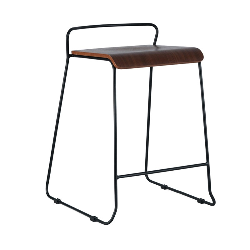 Bronx Commercial Grade Steel Counter Stool, Walnut / Black