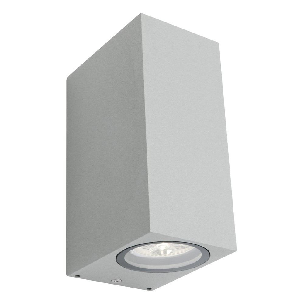 Brugge IP44 Exterior Up/Down LED Wall Light, Silver