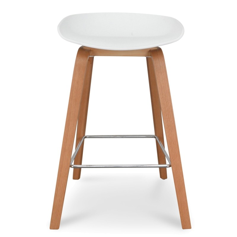 Renica Counter Stool, White / Natural