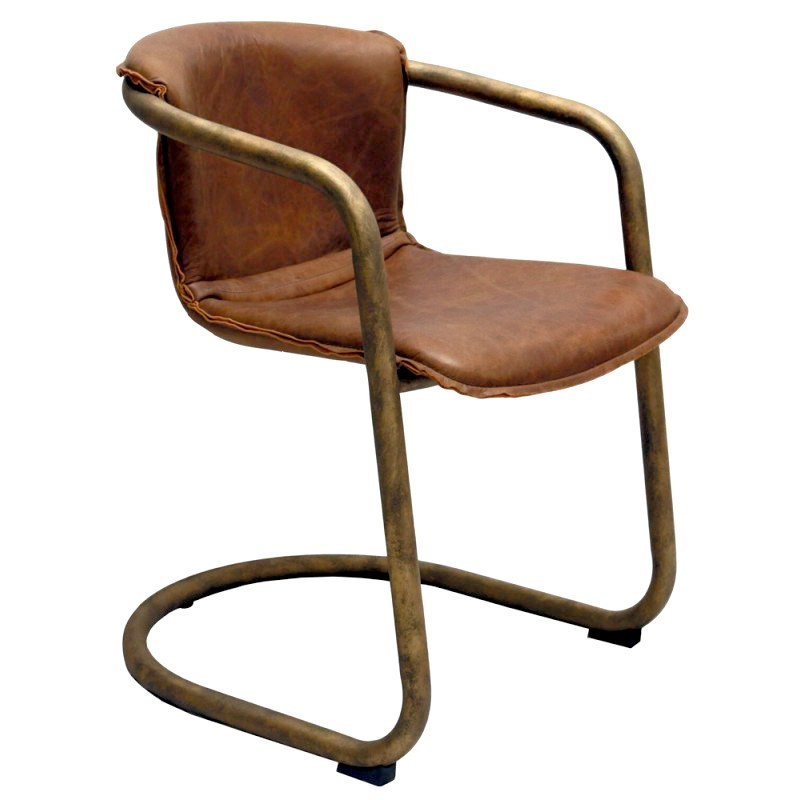 Ramses Vintage Leather Upholstered Metal Dining Chair