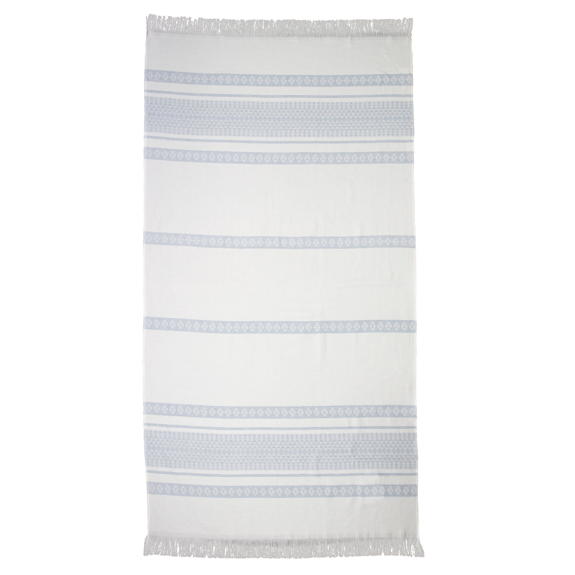 Ardor Yaz Cotton Beach Towel, Blue / White