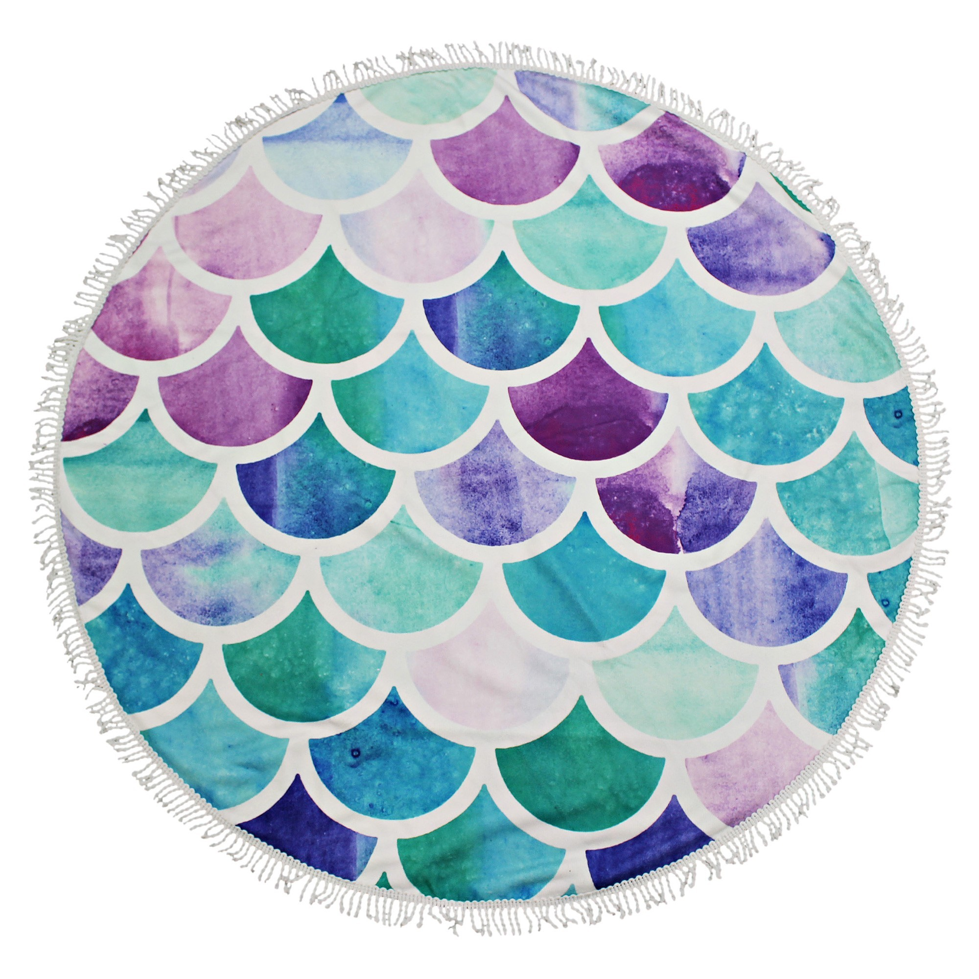Kommotion Microfibre Kids Round Beach Towel, Aqua Scales, 100cm