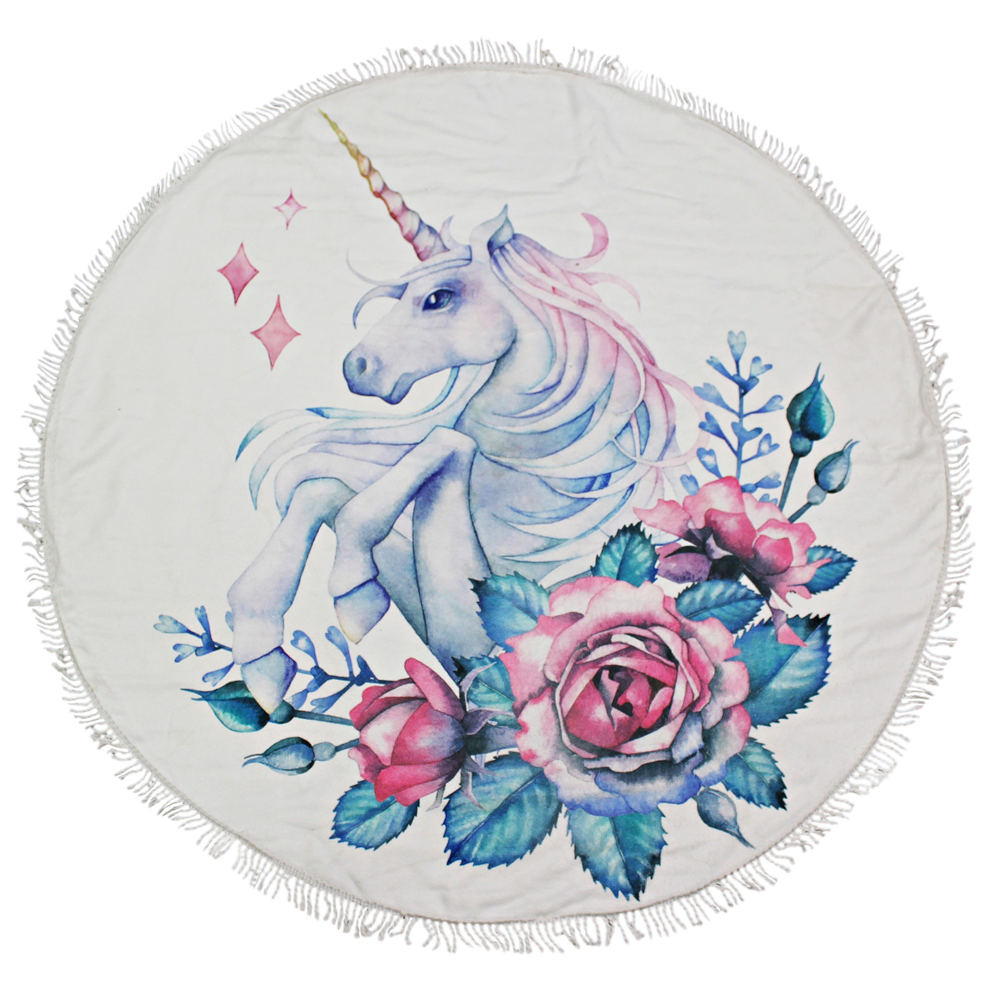 Kommotion Microfibre Kids Round Beach Towel, Unicorn & Rose, 100cm