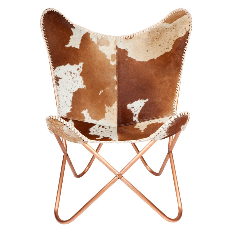 Alexandra Cowhide Butterfly Chair, Brown / White