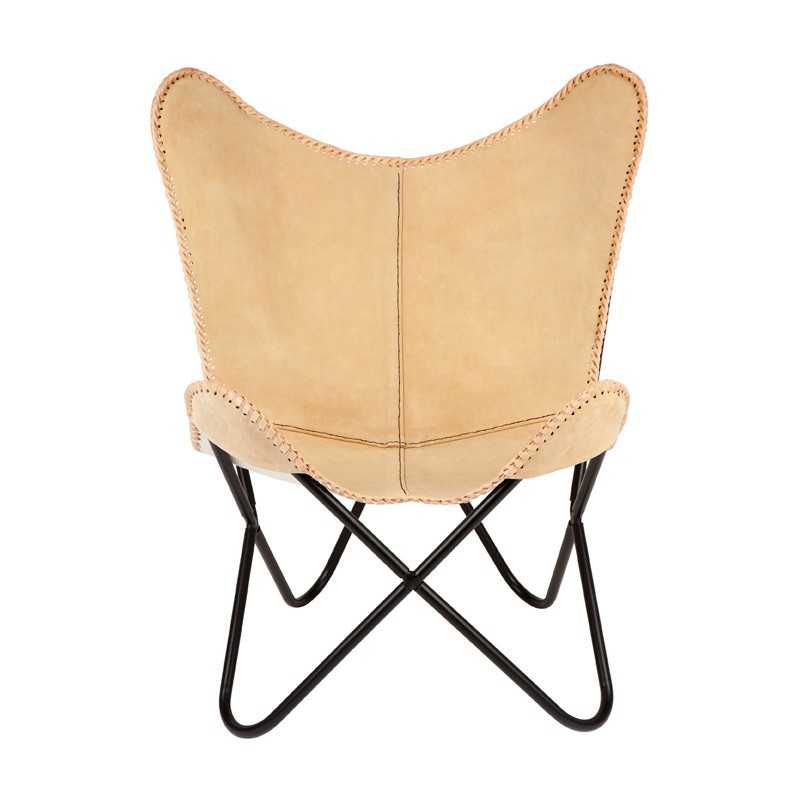 Marsh Leather Butterfly Chair, Tan