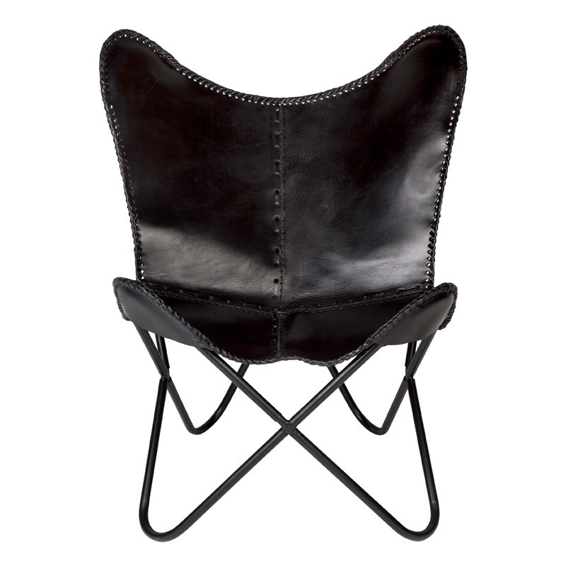 Marsh Leather Butterfly Chair, Black