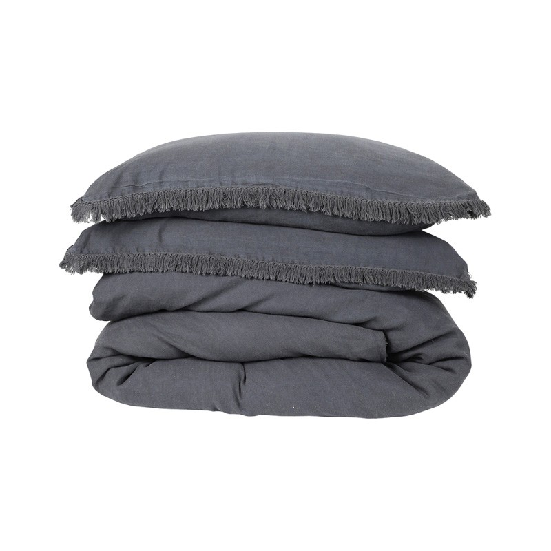 Bonilla Linen Duvet Cover Set, King, Charcoal