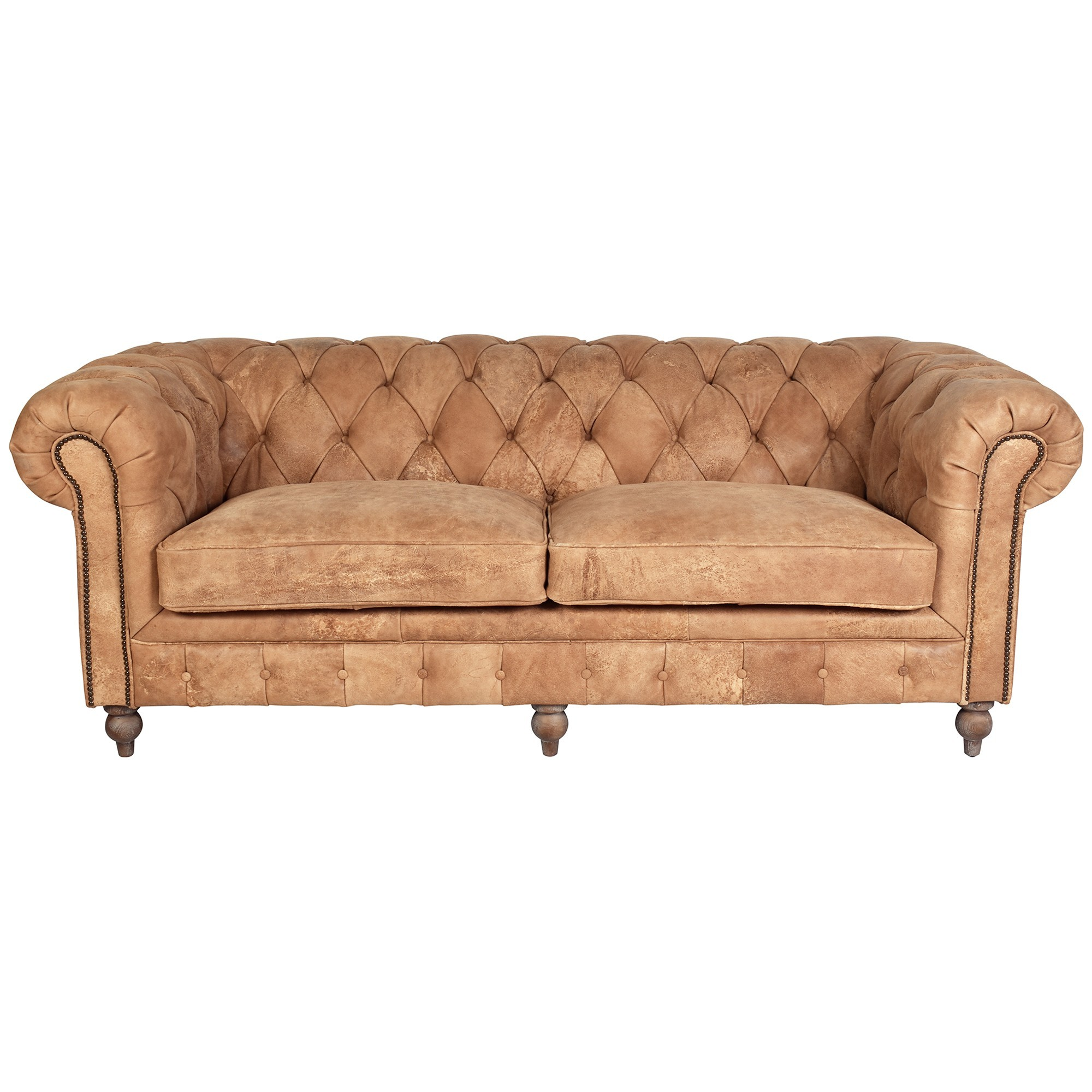 Barmston Aged Leather Chestfield Sofa, 3 Seater, Caramel