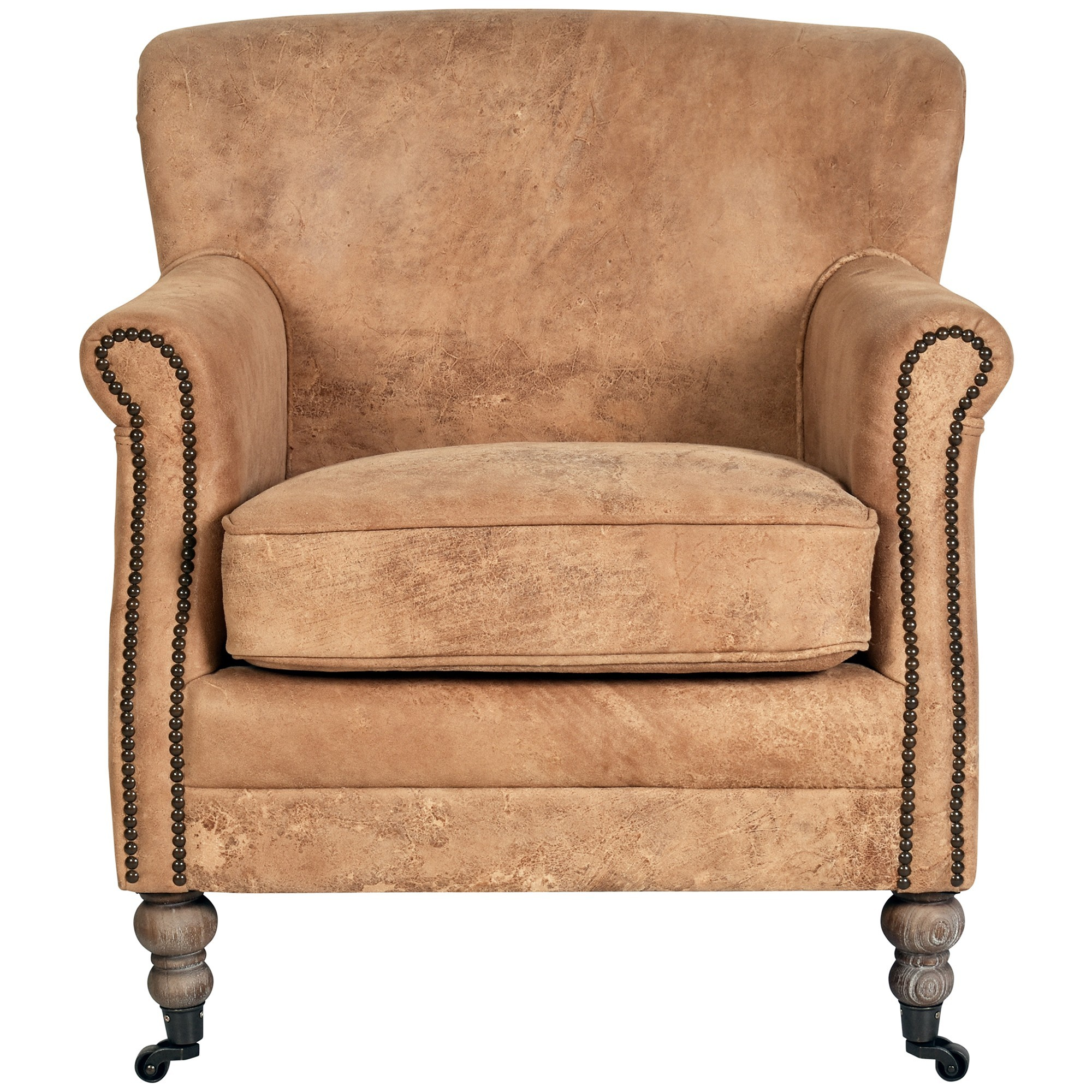 Bramley Vintage Leather Armchair, Caramel