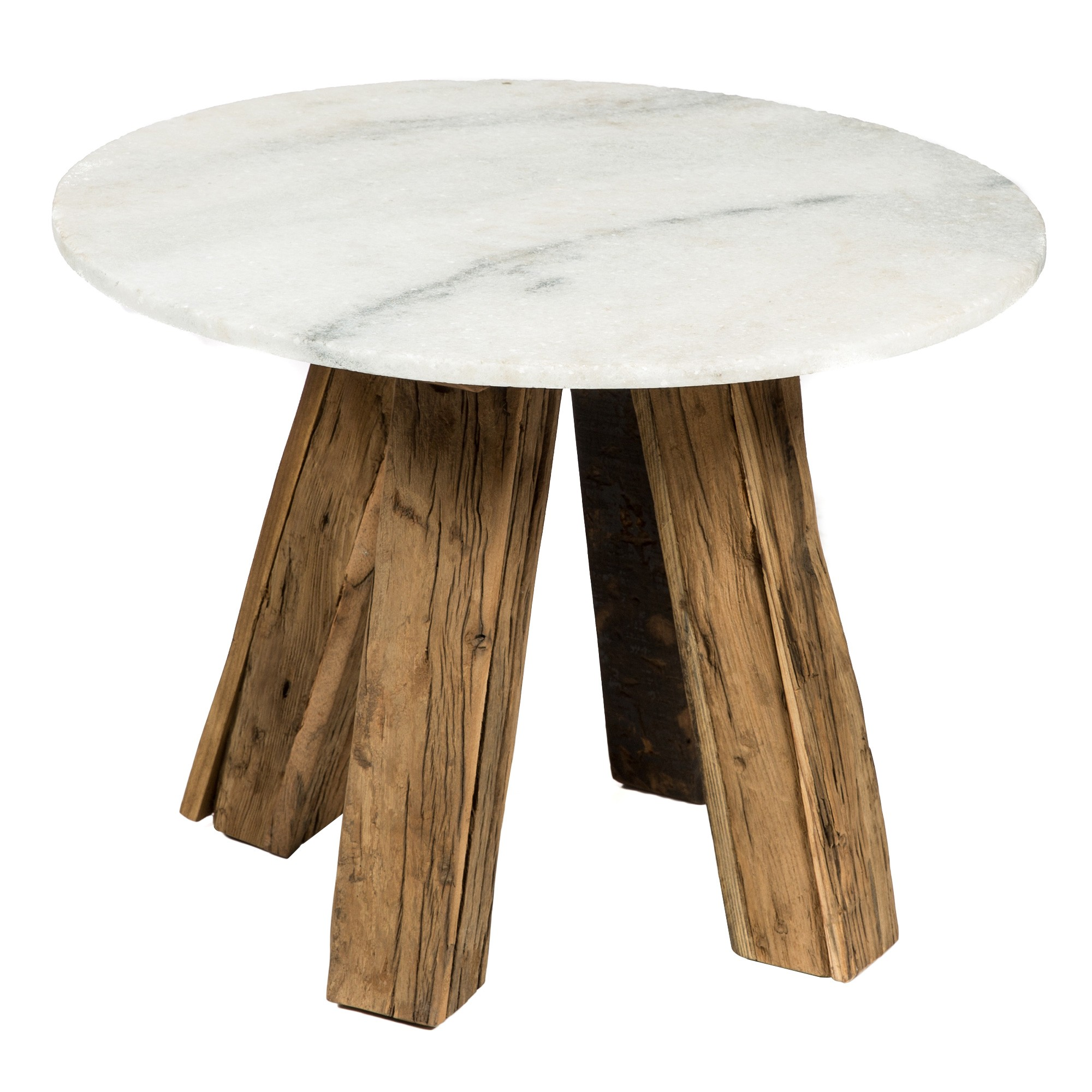 Apollo Stone & Reclaimed Timber Round Side Table