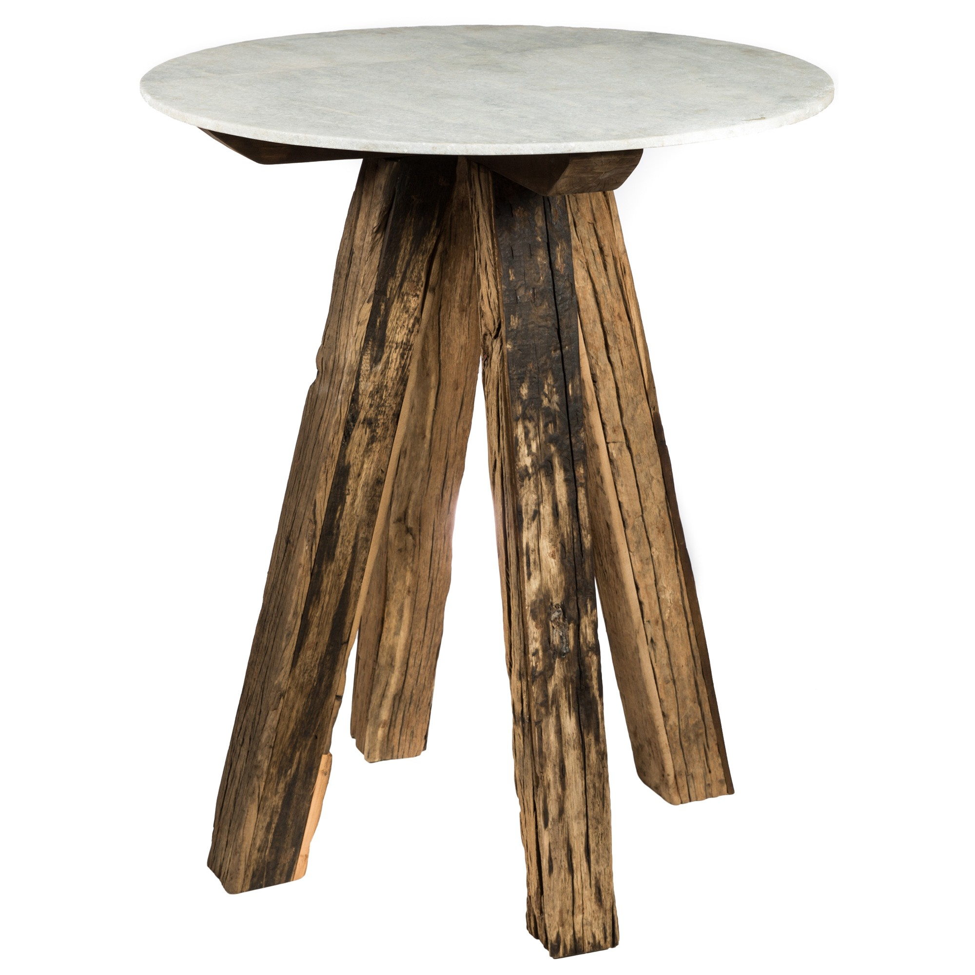 Cape Cod Stone & Reclaimed Timber Bar Table, Round, 90cm, White