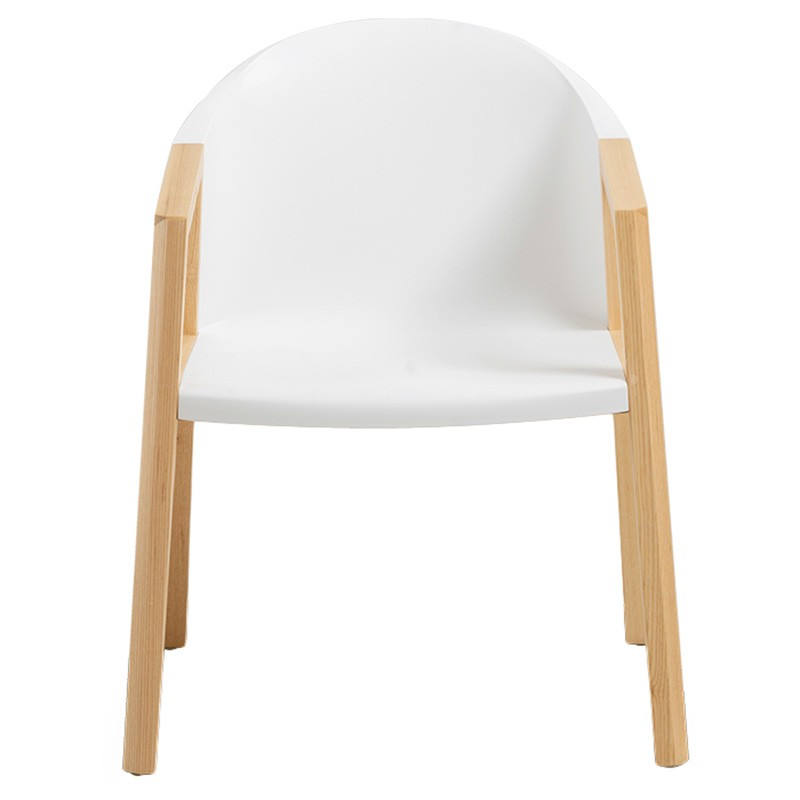 Bernald Commercial Grade Dining Armchair, White / Natural