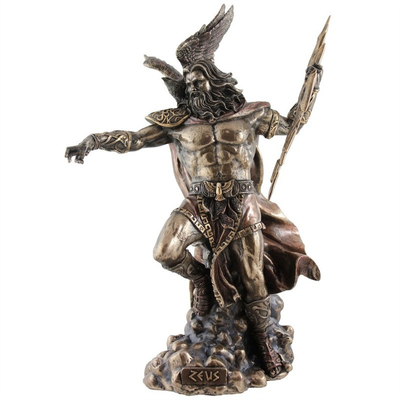 Cast Bronze Greek Mythology Figurine, Zeus Holding Thunderbolt