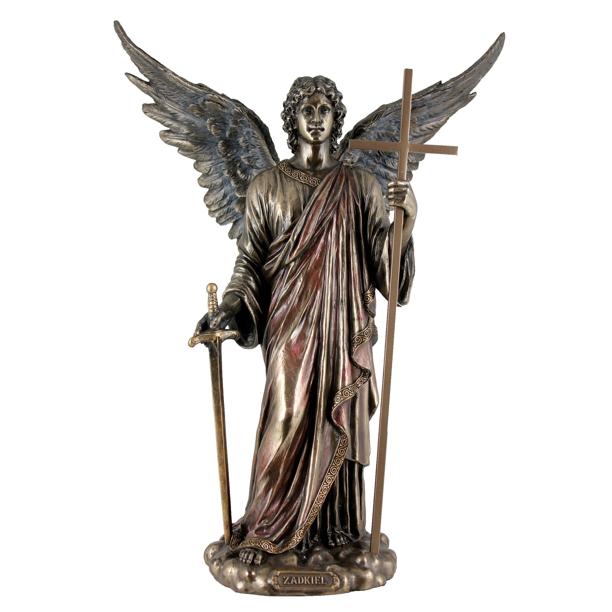 Veronese Cold Cast Bronze Coated Angel Figurine, Zadkiel The Archangel of Freedom & Mercy