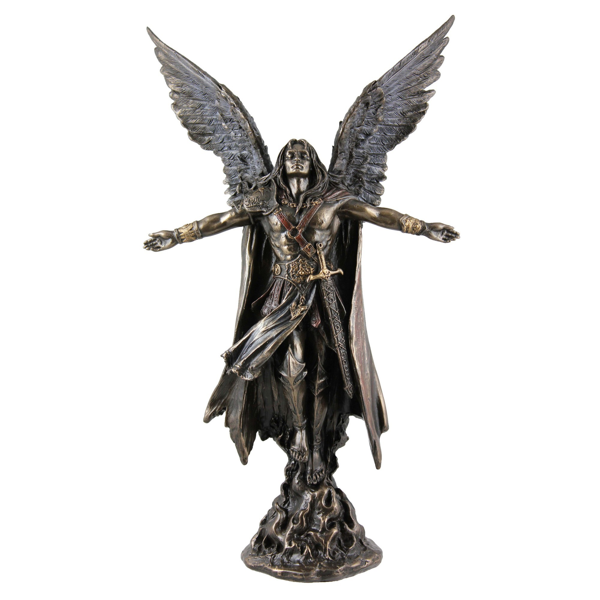 Veronese Cold Cast Bronze Coated Angel Figurine, Uriel The Archangel of Wisdom, Small