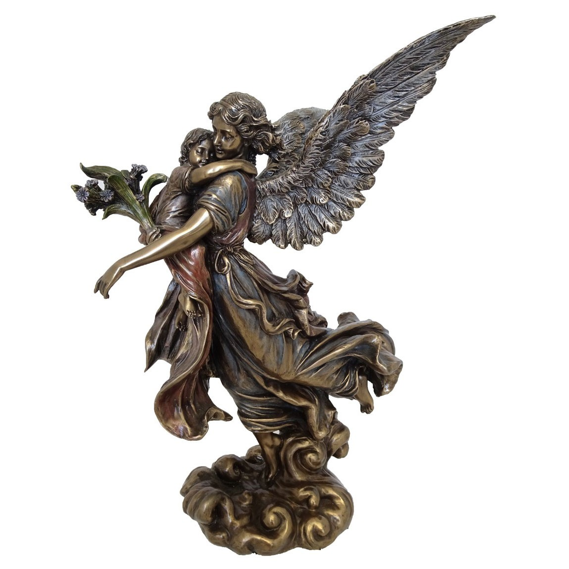 Veronese Cold Cast Bronze Coated Figurine, Guardian Angel with Infant