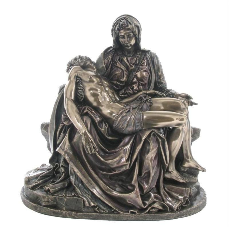 Veronese Cold Cast Bronze Coated Figurine, Michelangelo's Pieta, Small