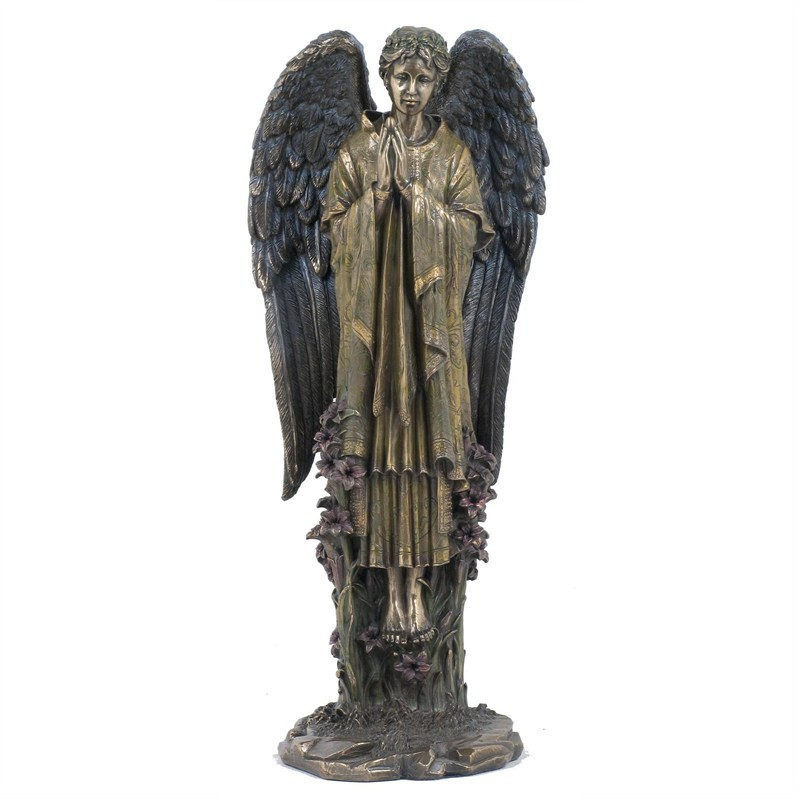 Veronese Cold Cast Bronze Coated Angel Figurine, Praying Gabriel