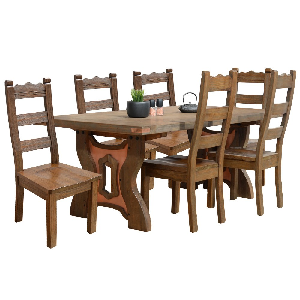 Avila 7 Piece Mountain Ash Timber Dining Table Set, 200cm