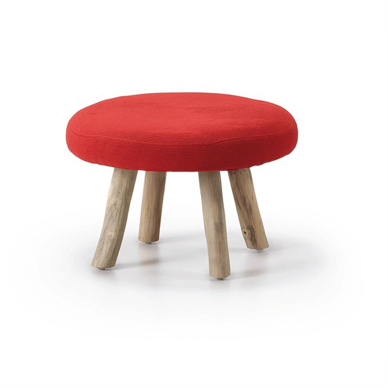 Friars Solid Teak Timber Round Ottoman with Fabric Seat, Red