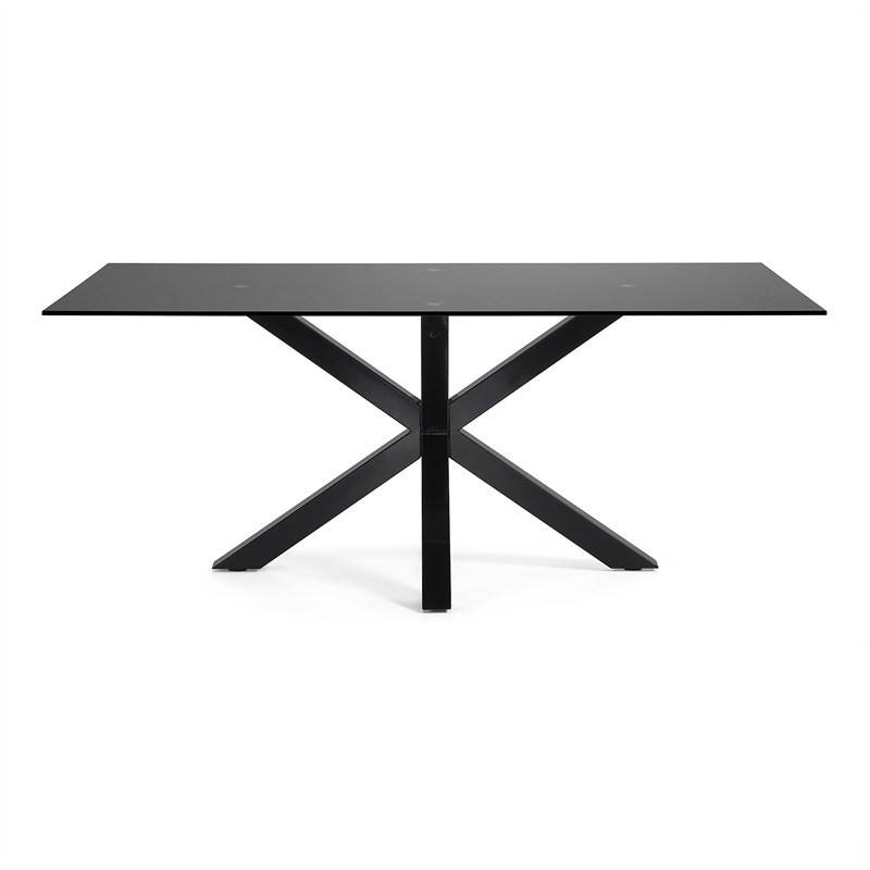 Bromley Tempered Glass & Epoxy Steel Dining Table, 200cm, Black