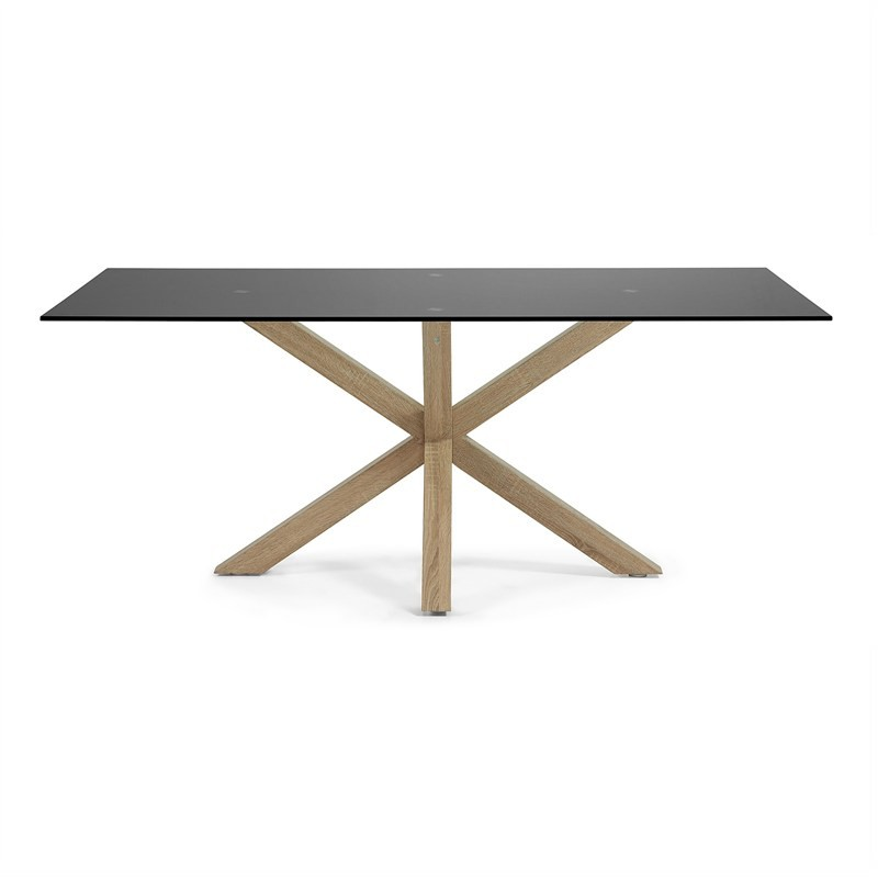 Bromley Tempered Glass & Steel Dining Table, 180cm, Black / Natural