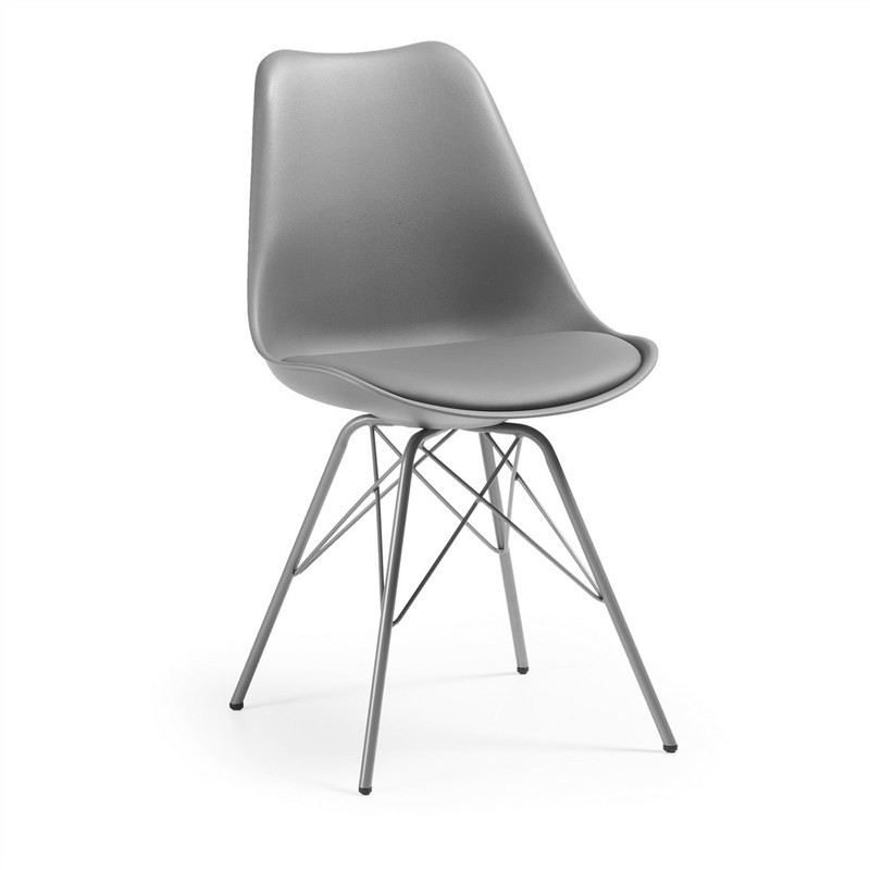 Lakota PU Leather Dining Chair, Steel Leg, Grey
