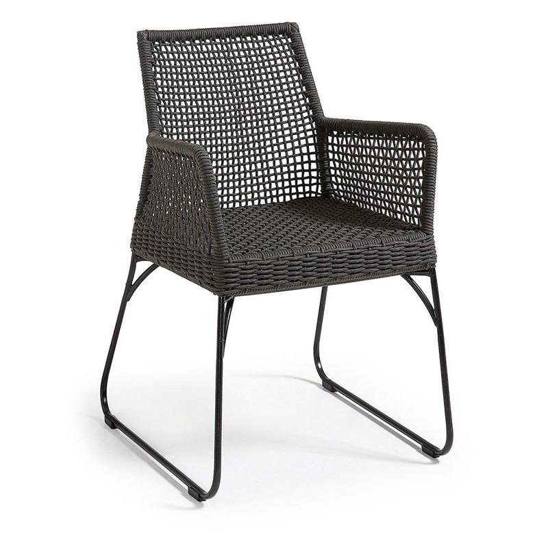 Burnett Indoor/Outdoor Dining Armchairs, Charcoal