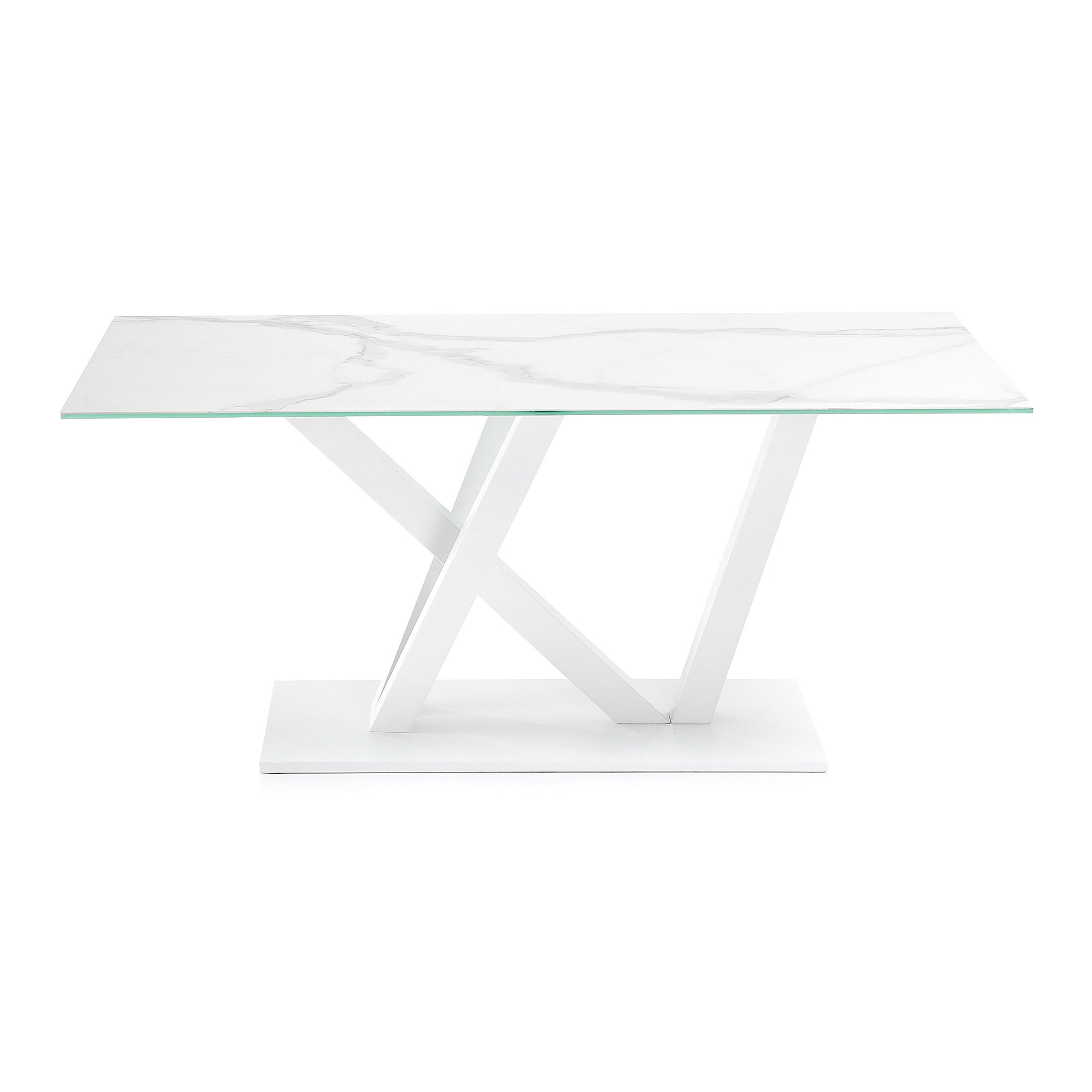 Uzi Ceramic Glass & Epoxy Steel Dining Table, 180cm, Kalos Blanco / White