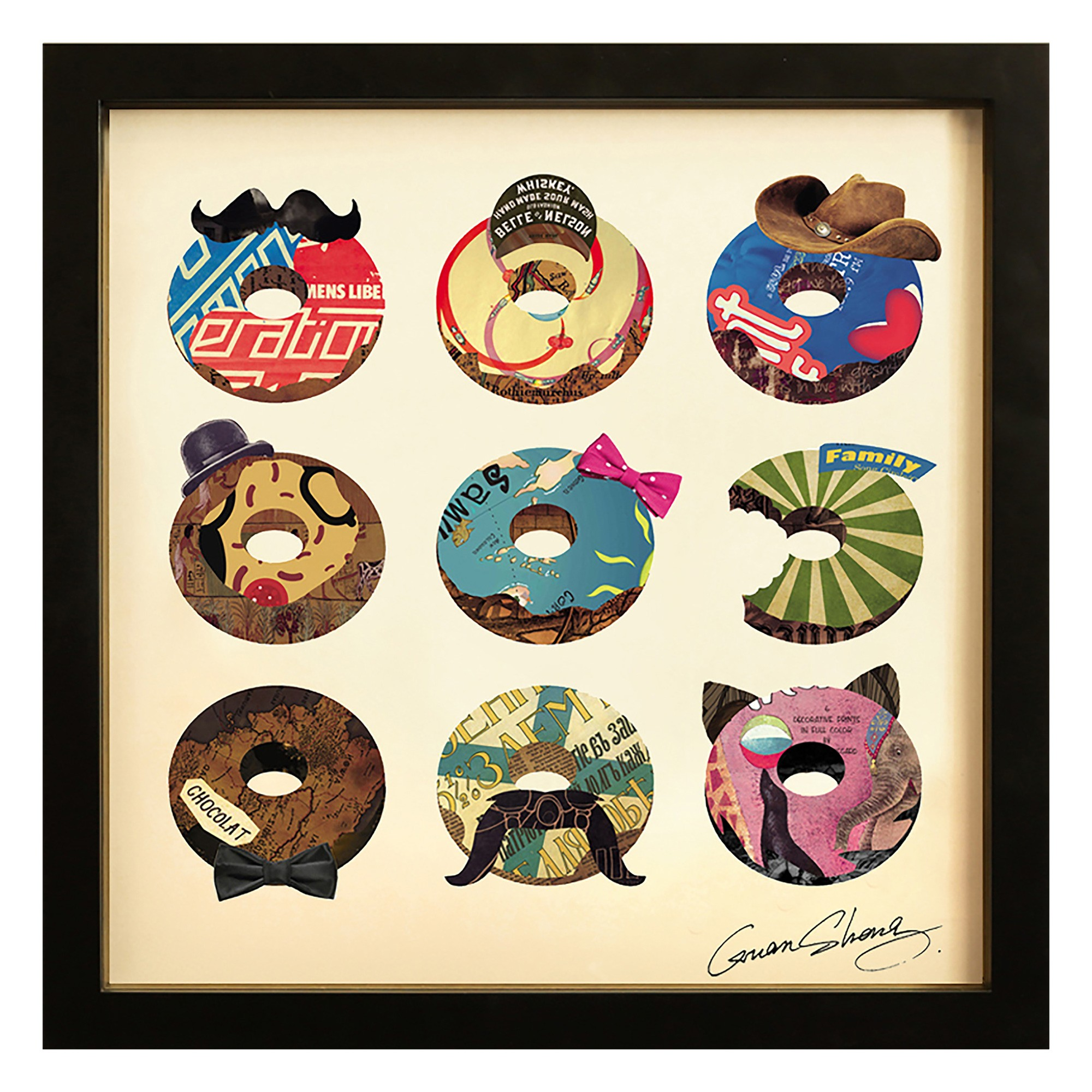 Merritt Framed Wall Art Print, Usual Suspects Doughnuts, 45cm