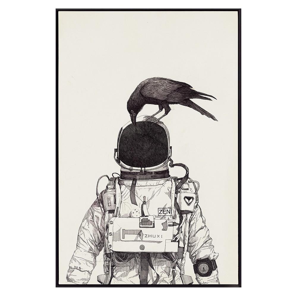 Crow & Astronaut Framed Canvas Wall Art, 80cm