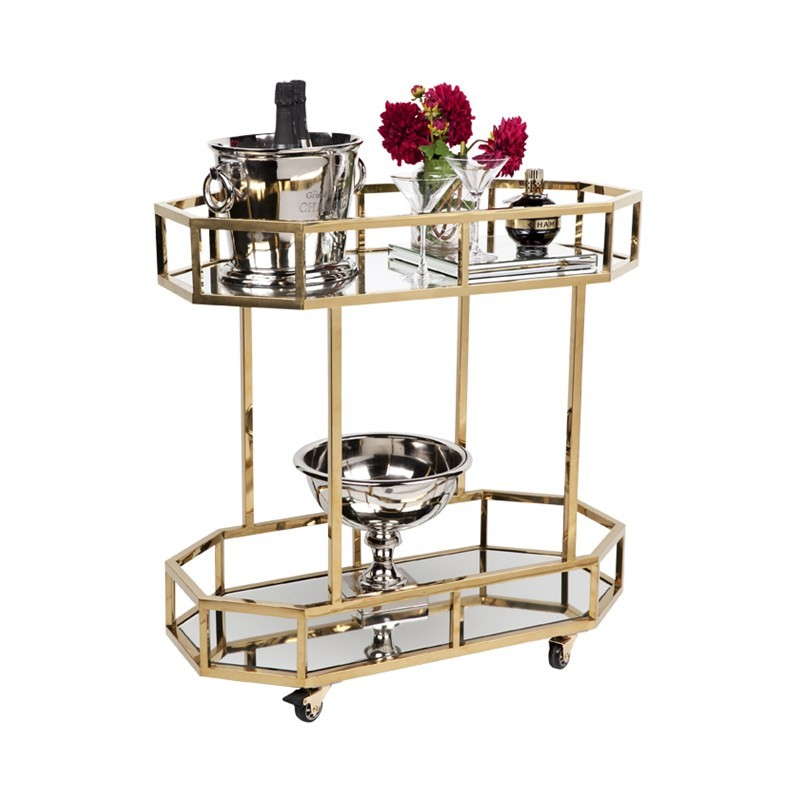 Brooklyn Stainless Steel Drinks Trolley - Gold