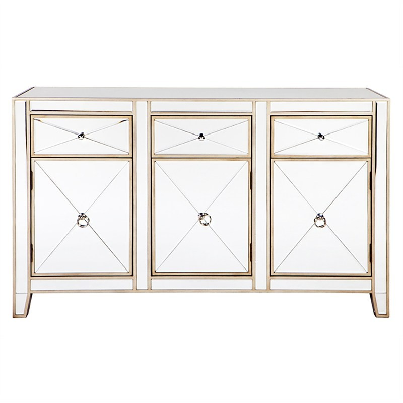 Apolo Mirrored 3 Door 3 Drawer Sideboard, 130cm, Antique Gold