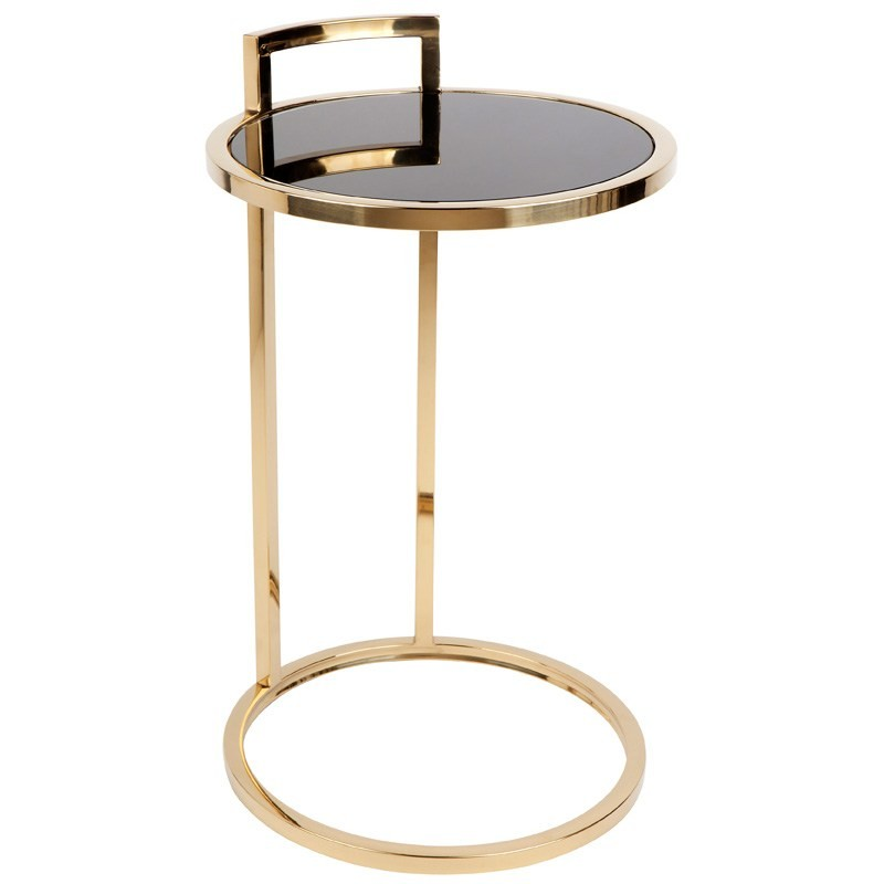 Max Stainless Steel Side Table with Glass Top, Gold