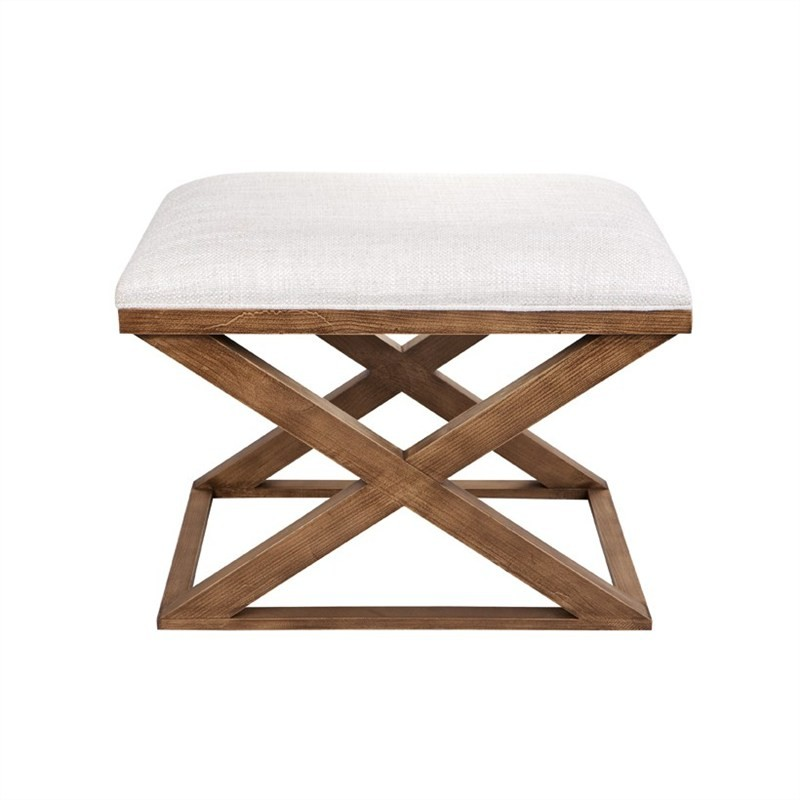 Spencer Linen Upholstered Timber Cross Leg Ottoman Stool, Natural
